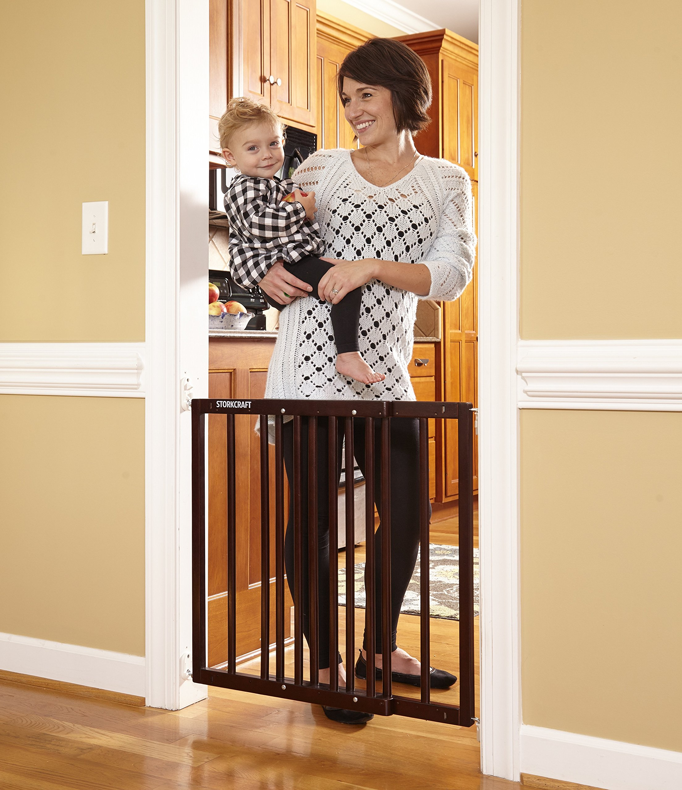 Storkcraft Easy Walk-Thru Wooden Safety Gate, Espresso Adjustable Baby Safety Gate For Doorways and Stairs, Great for Children and Pets by Stork Craft (Image #1)