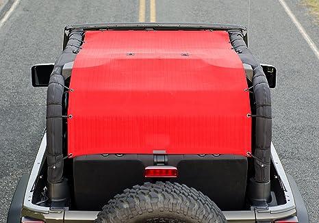 2007-2018 Wind Extra Long Full Length Sun Shade Mesh Top Cover 10 Year Warranty ALIEN SUNSHADE Jeep Wrangler JK Noise Blocks UV Gray