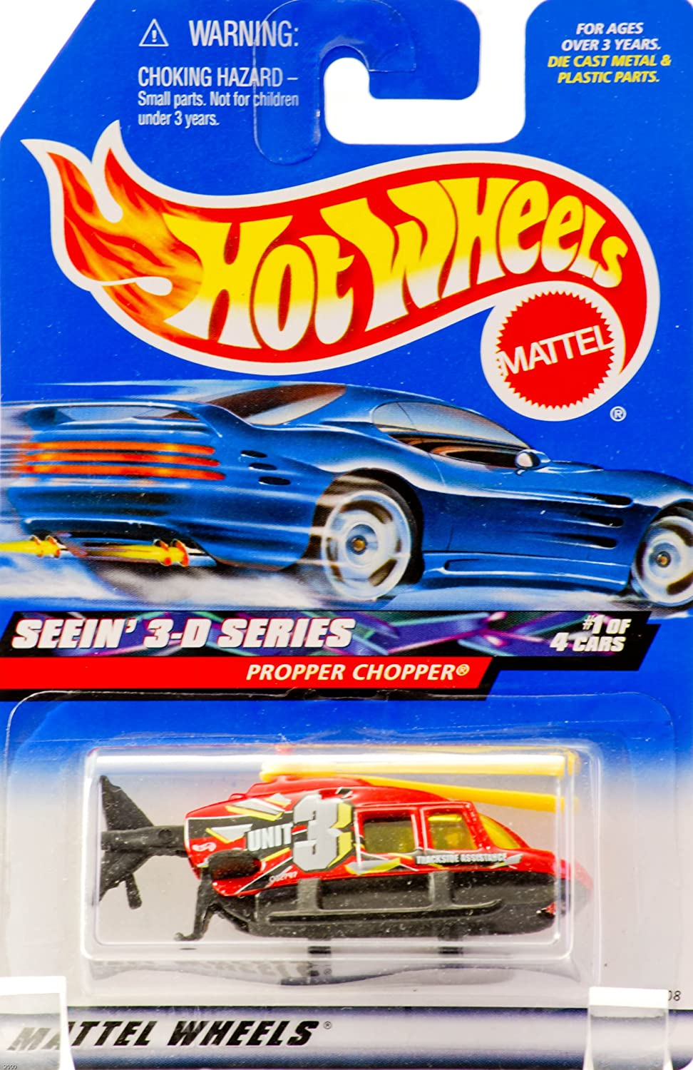 Propper Chopper Yellow Blades 2000 Out of Production Unit 3 : Trackside Assistance Graphics Hot Wheels Collector #009 Rare Collectible 26008 Red /& Black Seein 3-D Series #1 of 4 New Mattel Limited Edition Yellow Tinted Windows