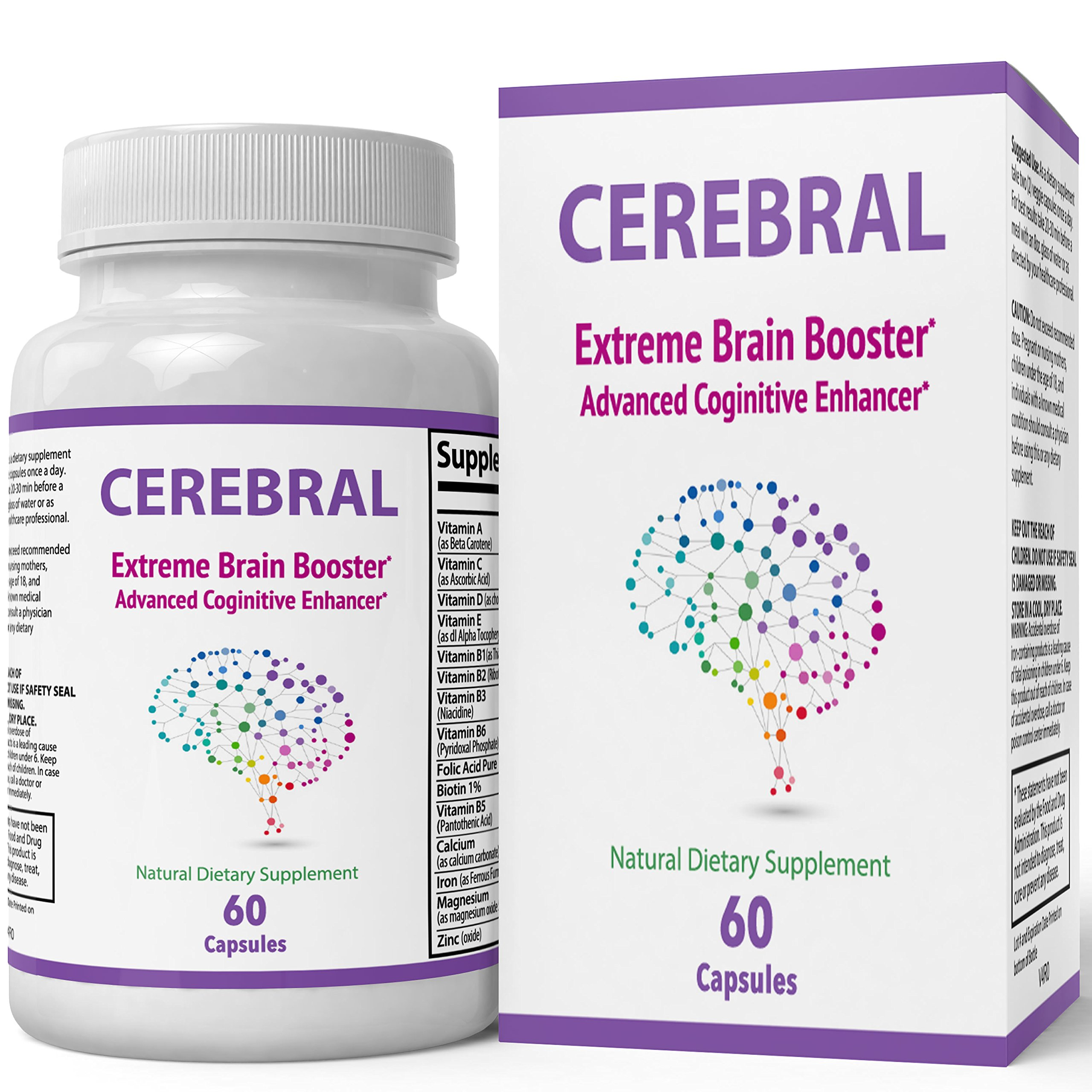Cerebral Extreme Brain Booster Supplement   Natural Nootropics For Mental Focus, Clarity and Memory   Cerebral X Enhances Cognitive Function   60 Capsules – 1 Month Supply (60 COunt)