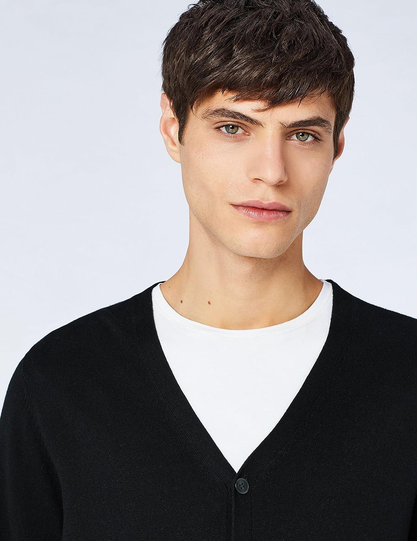 Meraki Mens Lightweight Cotton V Neck Cardigan Sweater