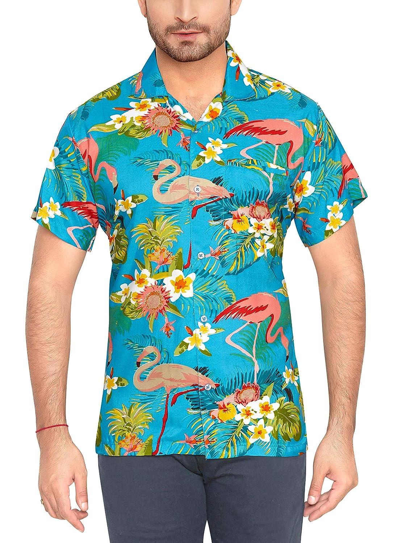 TALLA XL. CLUB CUBANA Camisa Hawaiana Florar Casual Manga Corta Ajuste Regular para Hombre