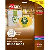 Avery Easy Peel Permanent Print-To-The-Edge Round Labels, Laser/InkJet, 2-Inch, Glossy White, Pack of 120 labels (22807)