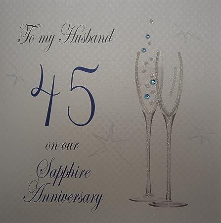 Auguri Alla Moglie Per Anniversario Di Matrimonio.White Cotton Cards P45h Biglietto D Auguri Per 45 Anniversario