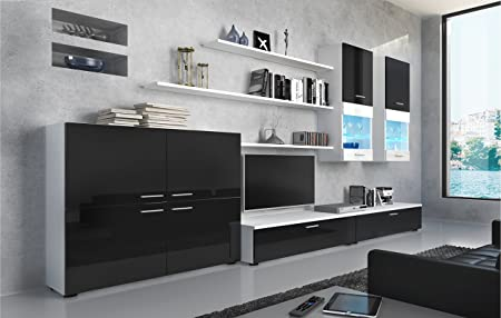 SelectionHome - Mueble Comedor Moderno, salón con Luces Leds, Acabado en Negro Brillo Lacado y Blanco Mate, Medidas: 300 x 189 x 42 cm de Fondo
