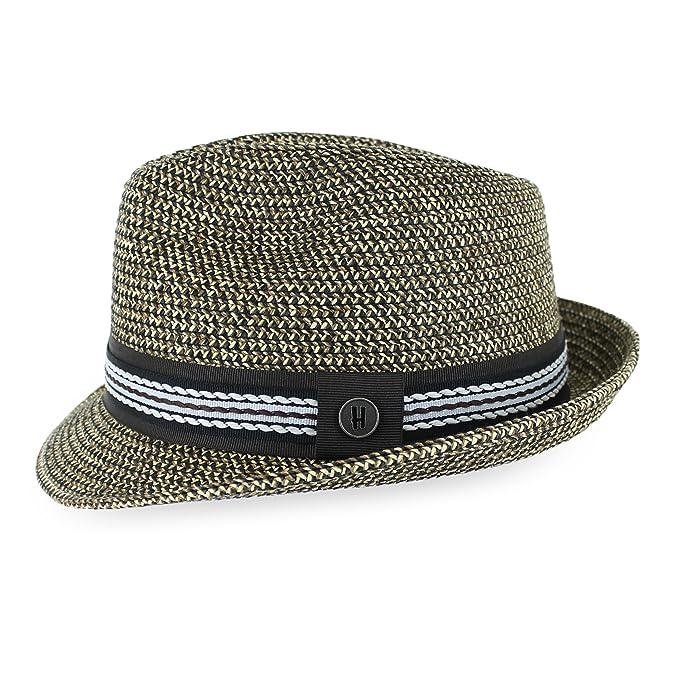 df97bbbbc2fd1 Belfry Men Women Summer Straw Trilby Fedora Hat in Blue Tan Black at Amazon  Men s Clothing store
