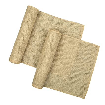 RAJRANG Jute Table Runner 12 X 108 Inch Natural Brown Wedding Party Decoration Kitchen Decor (Pack of 2) Coffee Table Runner