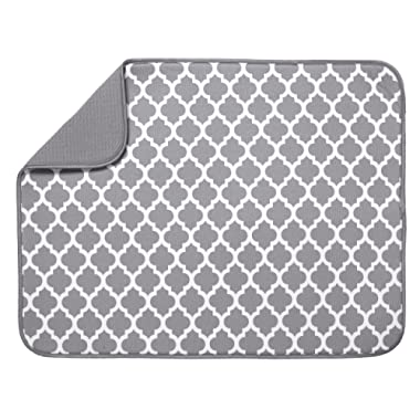 S&T XL Microfiber Dish Drying Mat, 18  x 24 , White Trellis