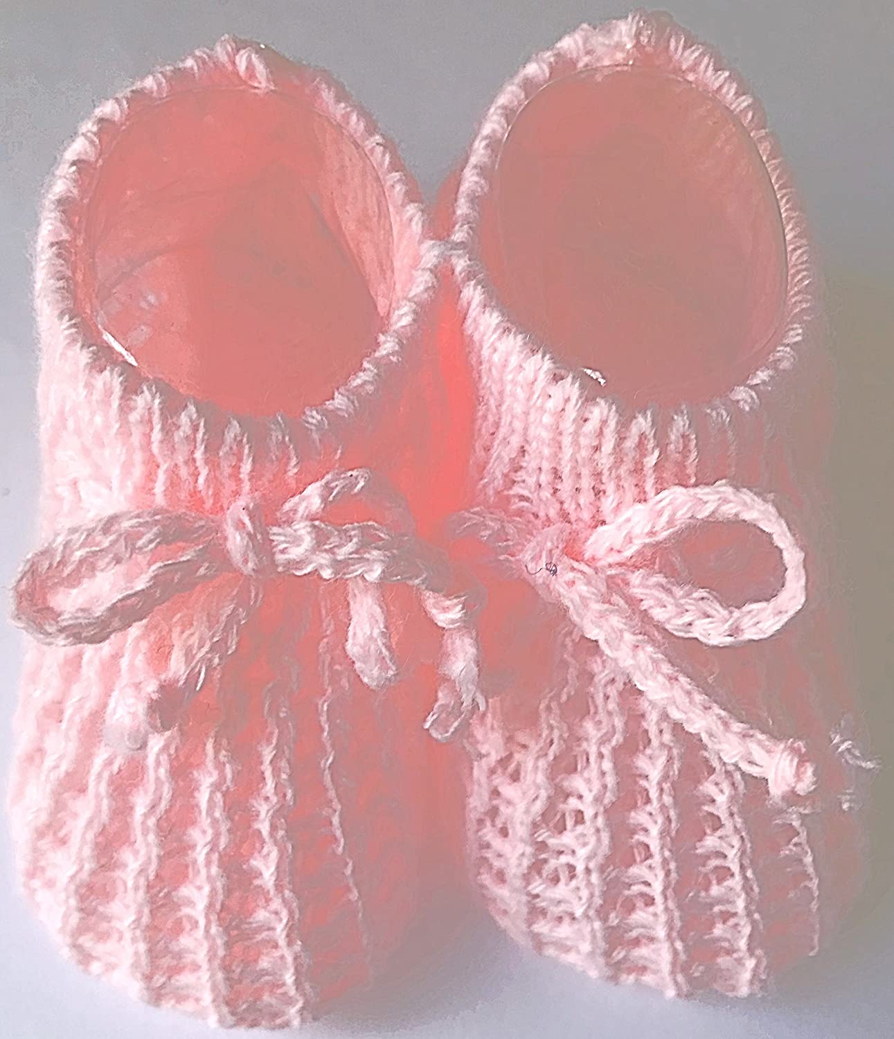 Baby Booties Knitted Newborn Bootees Size 0-3 Months Pink White Cream or Blue Soft Touch
