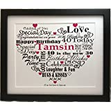 40TH BIRTHDAY GIFT PRESENT PERSONALISED WORD ART PRINT TYPOGRAPHY (UNFRAMED)