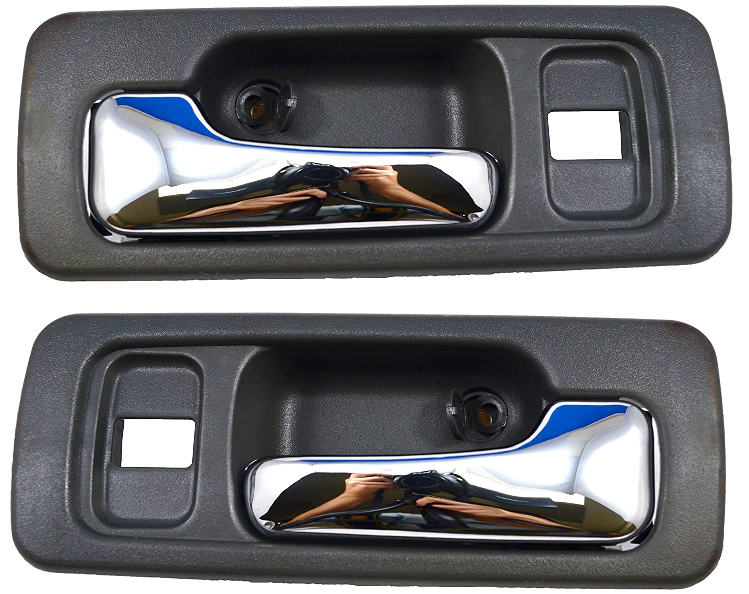Front Left//Right Pair Inside Interior Inner Door Handle Gray//Chrome Lever PT Auto Warehouse HO-2578MG-FP