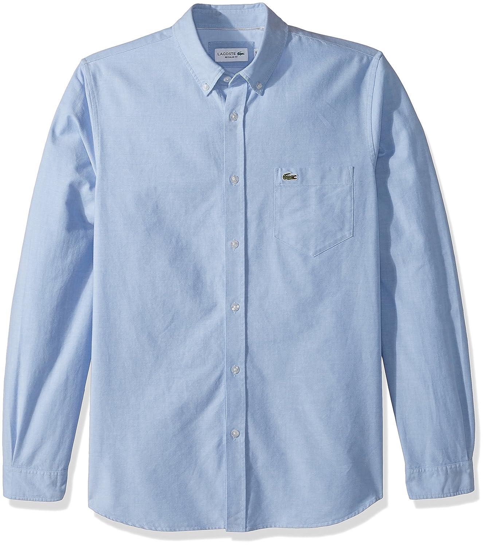 Lacoste Men s Long Sleeve Oxford Button Down Collar Regular Fit Woven Shirt 947d70c4f22a