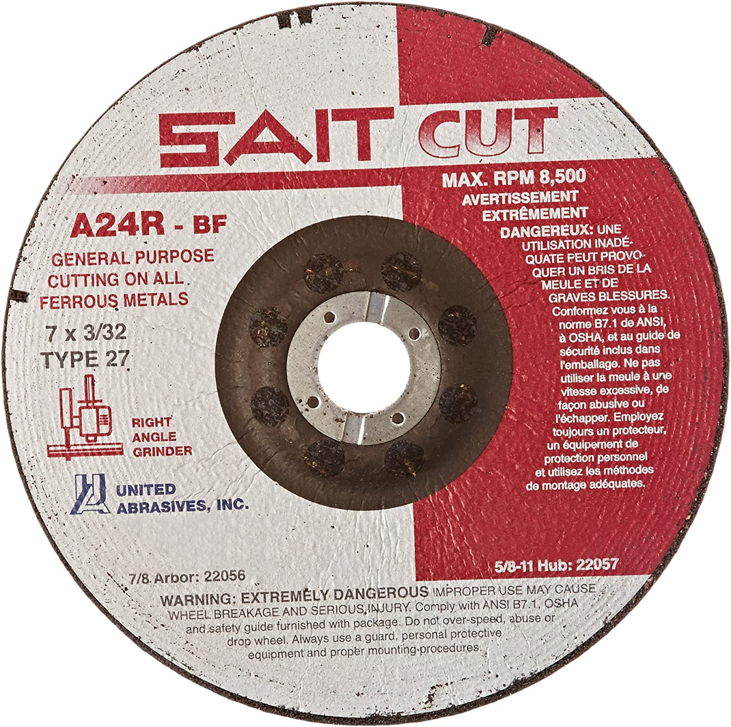 25-Pack SAIT 22000 Type 27 3 by 1//8 by 3//8 A24R Cutting Wheel United Abrasives