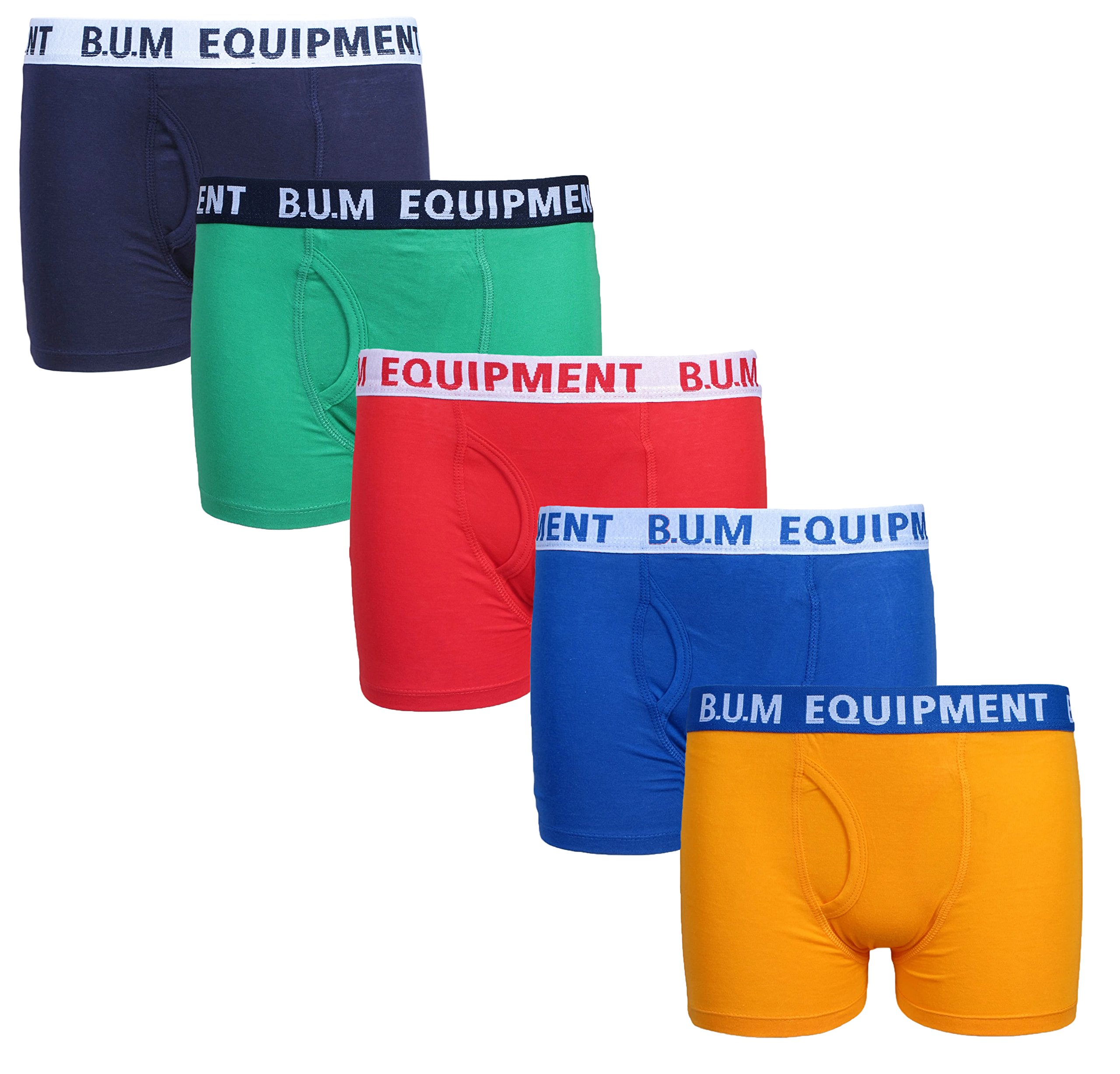 B.U.M. Equipment Boys 5 Pack Solid Boxer Briefs Underwear, Brights, Size 4/5