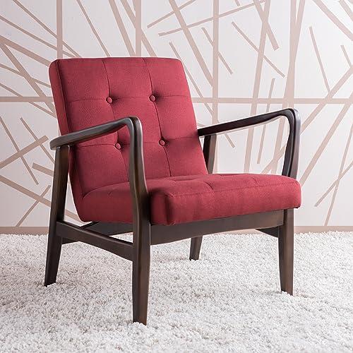 Christopher Knight Home Conrad Deep Red Fabric Mid Century Modern Club Chair