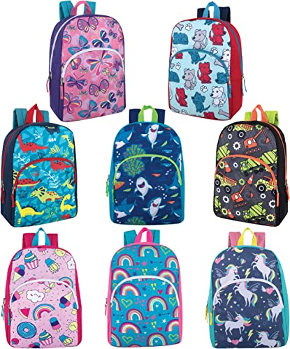 24 Packs of Wholesale Boys Girls Character and Animal Backpacks with Adjustable, Padded Back Straps in Bulk Bundles Mix