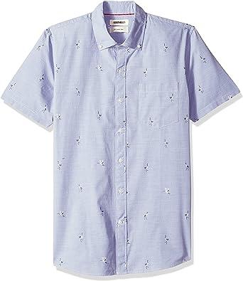 Marca Amazon - Goodthreads – Camisa dobby de manga corta de corte entallado para hombre