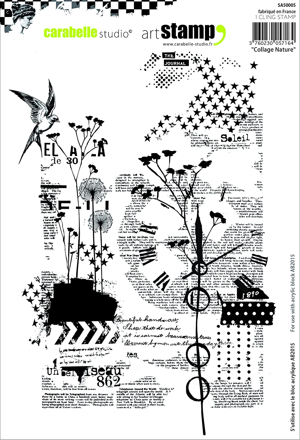 Carabelle Studio A5 Cling Stamp-Nature Collage, White/Transparent