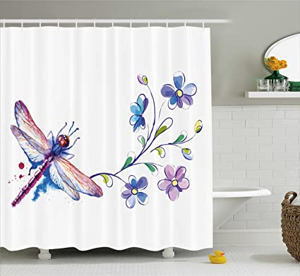 Ambesonne Dragonfly Shower Curtain Watercolor Bug Butterfly Like Moth With Branch Ivy Flowers Lilies Art