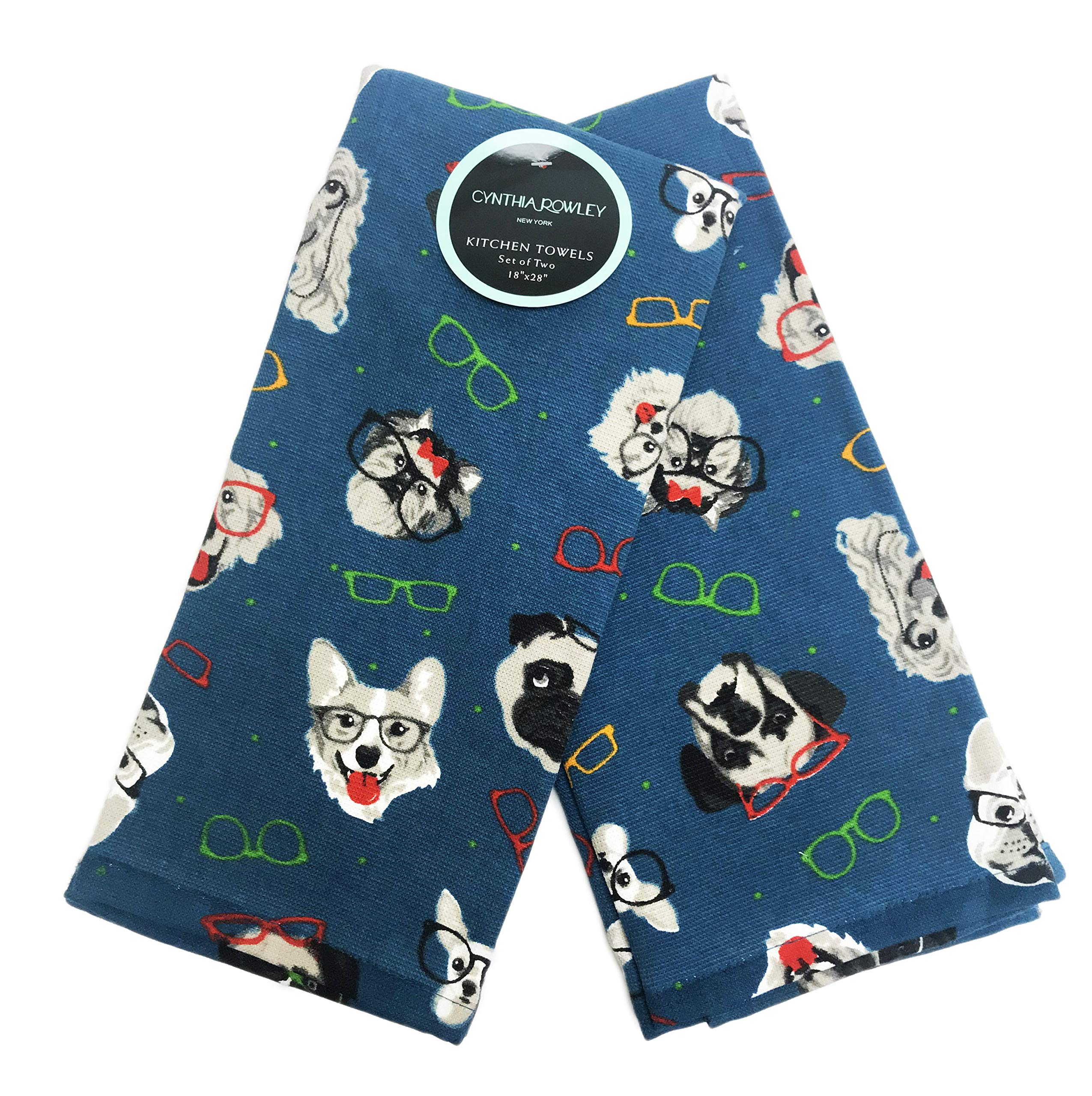 Cynthia Rowley Multi Dog Breeds Wearing Eyeglasses Set of Two Decorative Kitchen Hand Towels 18'' x 28''