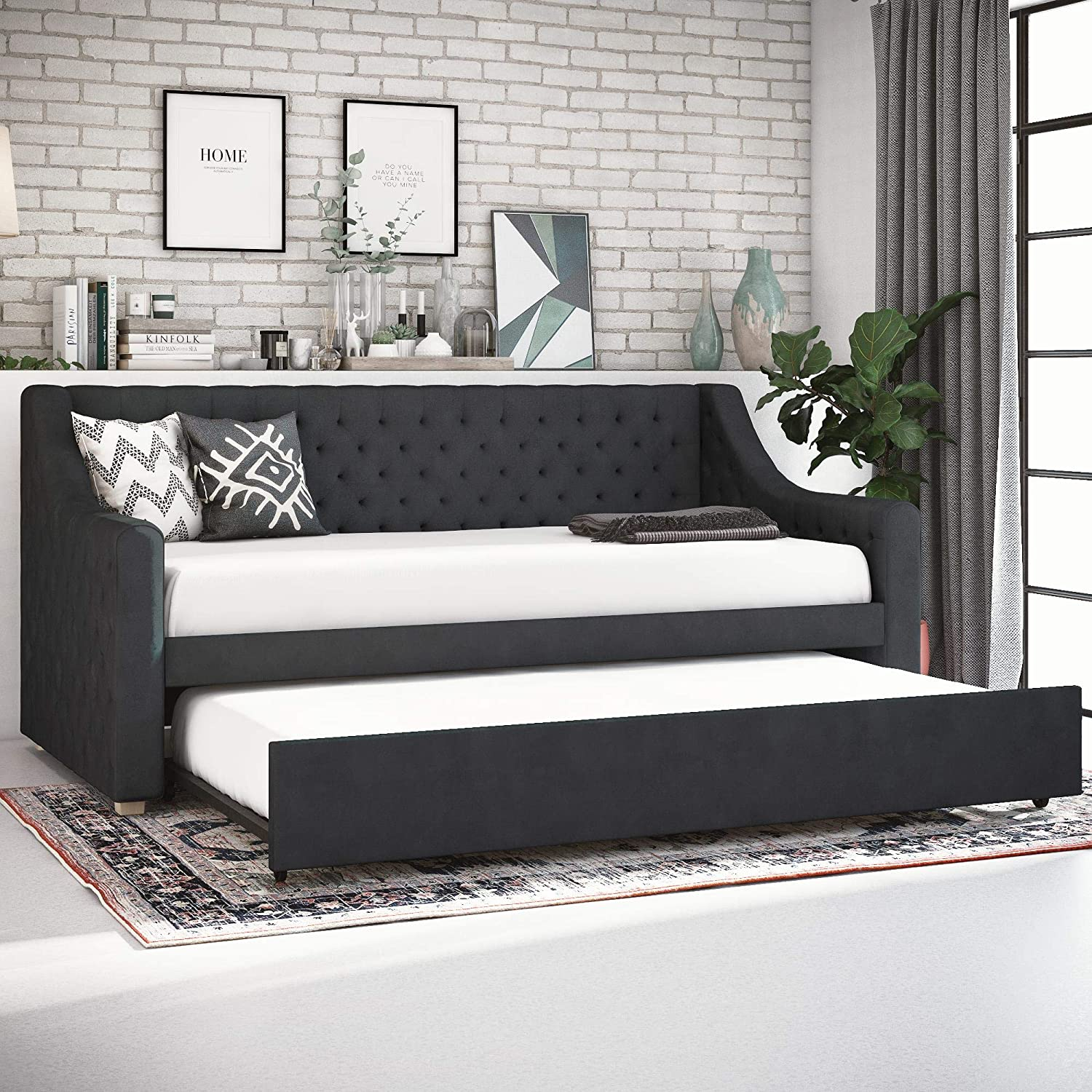 CosmoLiving Nolita Upholstered Daybed and Trundle – Twin – Gray