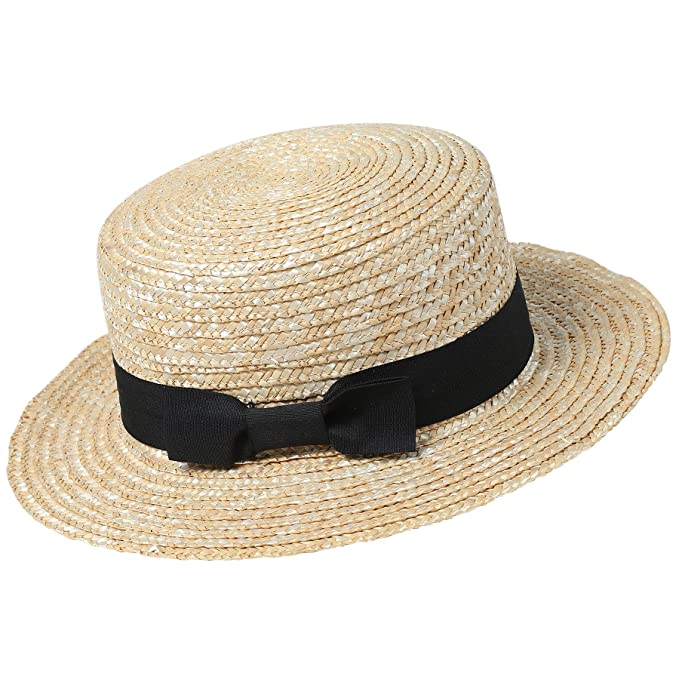 c2862767 BABEYOND 1920s Brim Boater Hat for Men Gatsby Hat for Men with Black and  Red Band