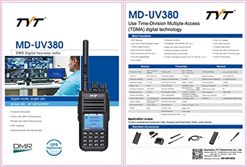 TYT MD-UV380 with GPS MD380 VHF UHF 136-174Mhz 400-480Mhz MD-380 Dual Band Handheld Two Way Radio Programming Cable