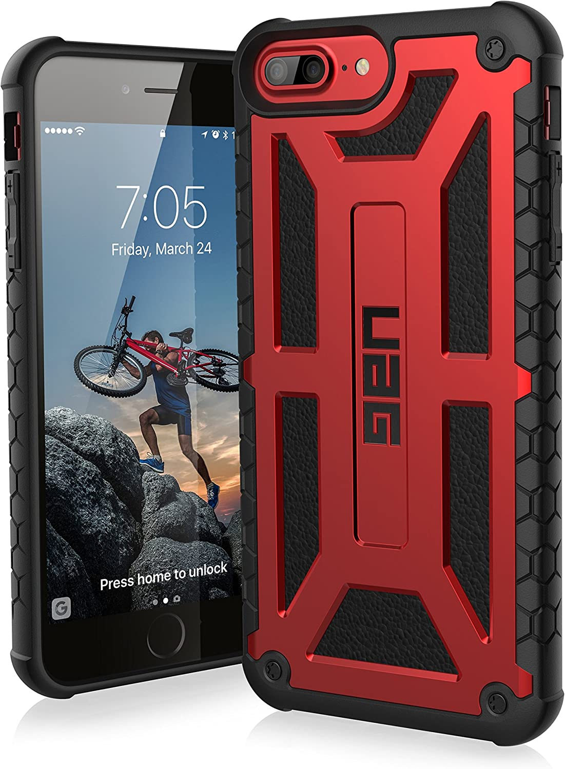 URBAN ARMOR GEAR UAG iPhone 8 Plus/iPhone 7 Plus/iPhone 6s Plus [5.5-inch Screen] Monarch Feather-Light Rugged [Crimson] Military Drop Tested iPhone Case