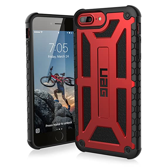 size 40 c7a3f 21a58 URBAN ARMOR GEAR UAG iPhone 8 Plus/iPhone 7 Plus/iPhone 6s Plus [5.5-inch  Screen] Monarch Feather-Light Rugged [Crimson] Military Drop Tested iPhone  ...