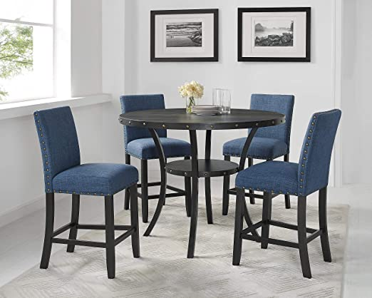 Roundhill Furniture Collection Biony Espresso Wood Counter Height Dining Set With Blue Fabric Nailhead Stools Chairs