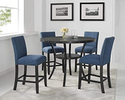 Roundhill Furniture P162bu Collection Biony Espresso Wood Counter Height Dining Set With Blue Fabric Nailhead Stools