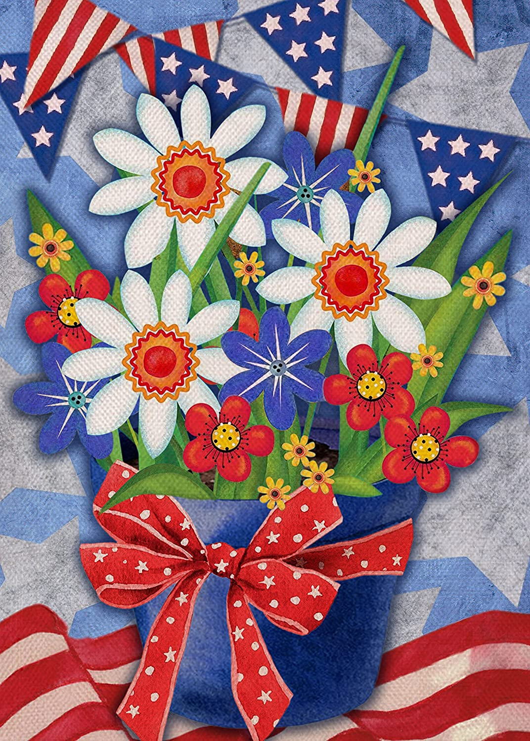 Furiaz American July 4th Garden Flag, House Yard Decorative Small Flag Summer Daisy Stars Stripes Home Outside Red White Blue Flower Pot Decoration, USA Patriotic Outdoor Decor Flag Double Sided 12x18