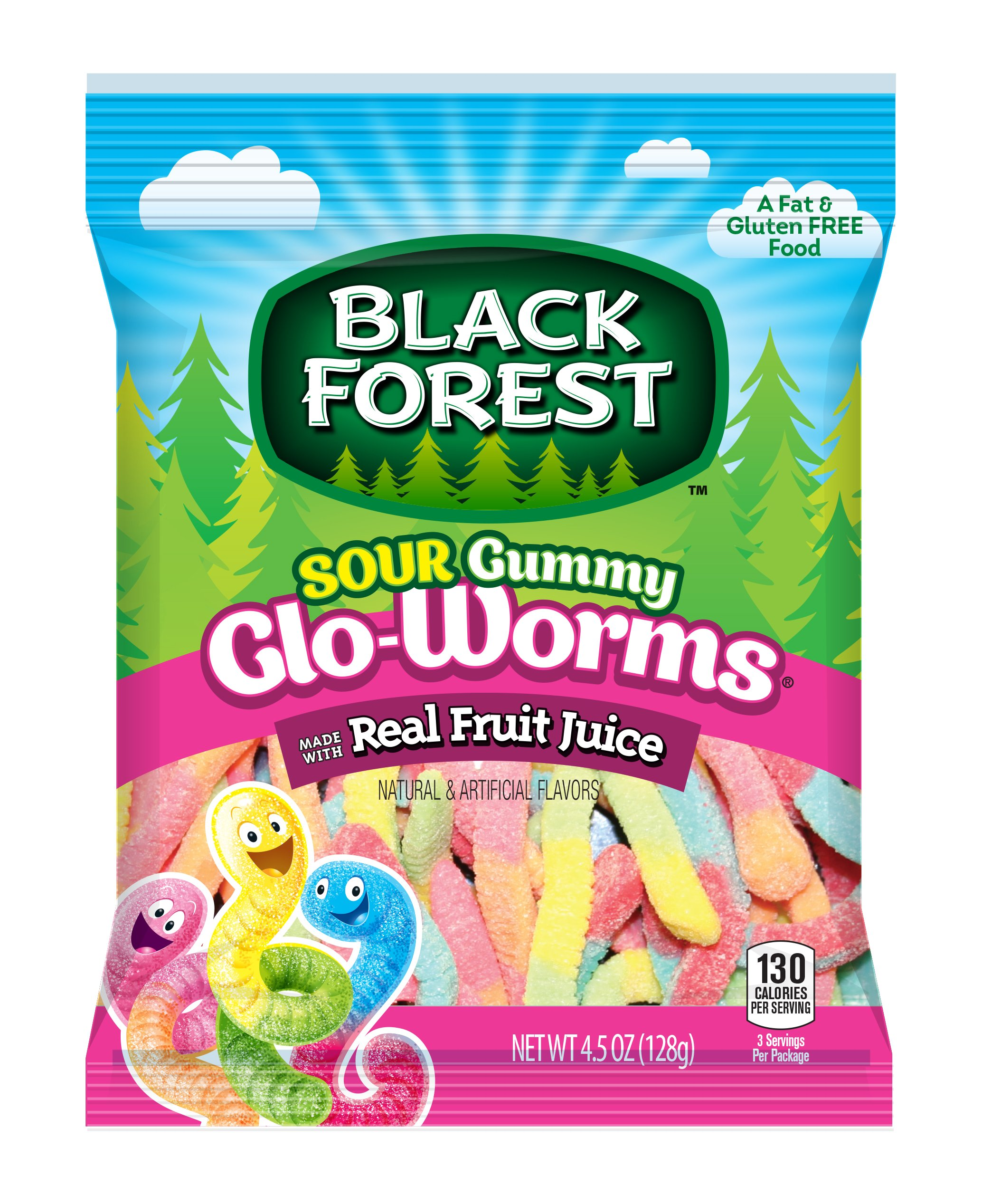 Black Forest Sour Gloworms Gummy Candy, 4.5 Ounce Bag(Pack of 12)