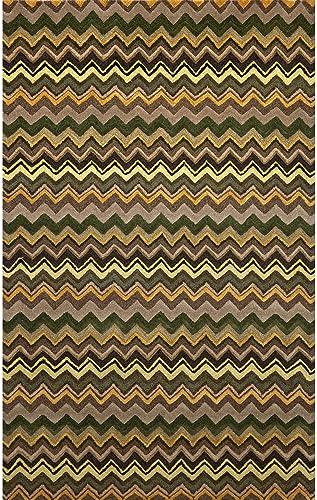 Liora Manne Seville Zigzag Stripe Hand Tufted Rug, 9 by 12-Feet, Green