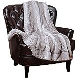 """Chanasya Super Soft Fuzzy Fur Elegant Faux Fur Falling Leaf Pattern With Fluffy Plush Sherpa Cozy Warm Gray Throw Blanket (50"""" x 65"""") - Gray and White"""