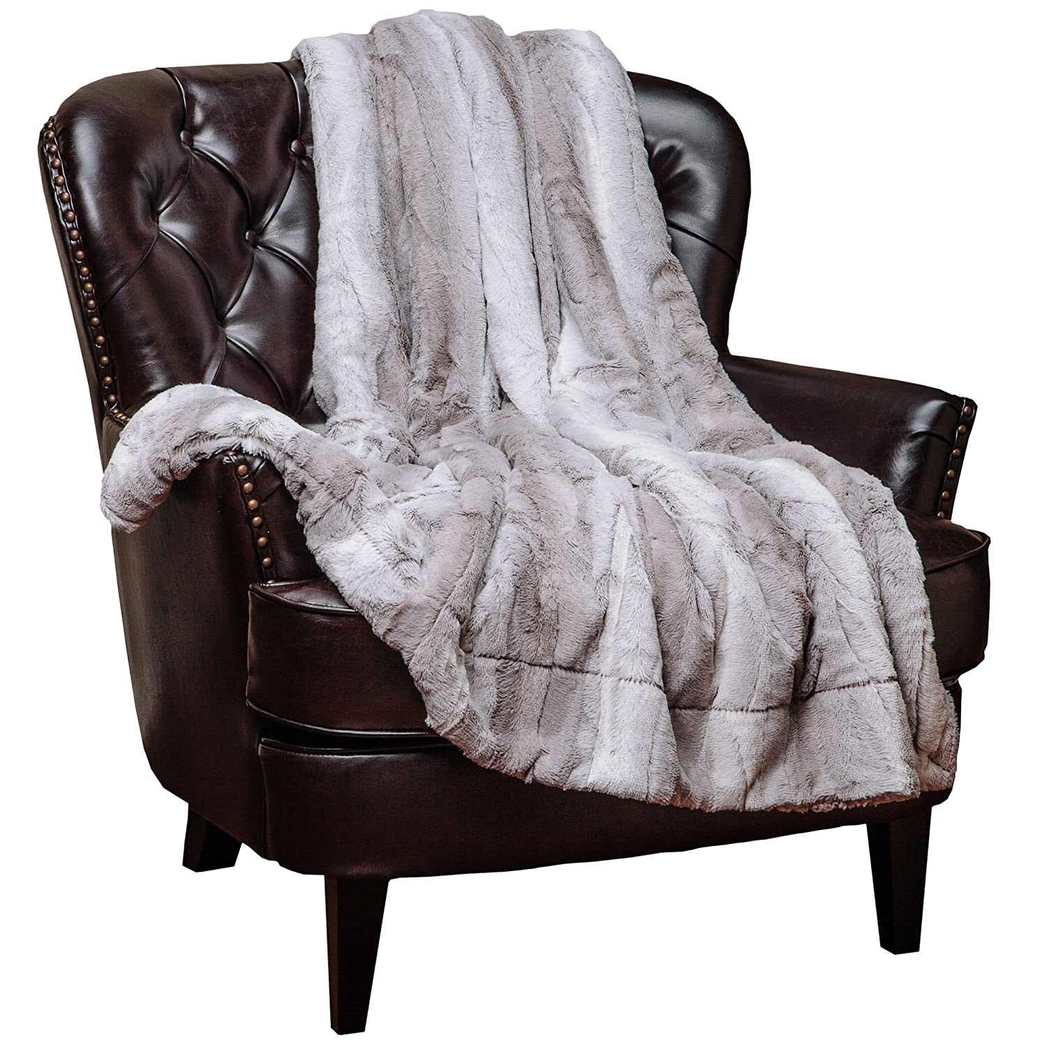 Chanasya Super Soft Fuzzy Fur Elegant Throw Blanket | Faux Fur Falling Leaf Pattern with Fluffy Plush Sherpa Cozy Warm Grey Microfiber Blanket for Bed Couch Living Bed Room - Grey and White
