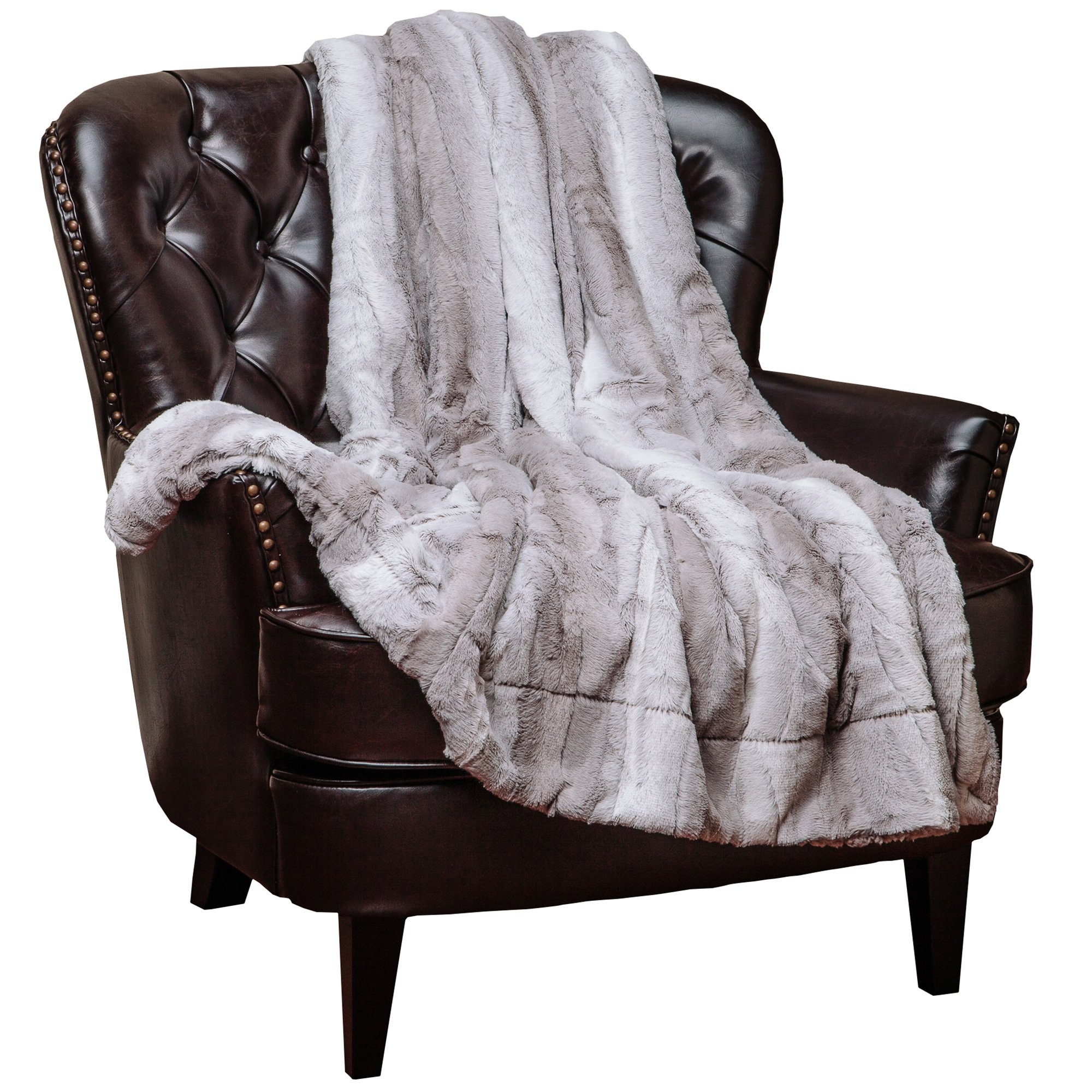 Chanasya Super Soft Fuzzy Fur Elegant Throw Blanket | Faux Fur Falling Leaf Pattern with Fluffy Plush Sherpa Grey Microfiber Blanket for Bed Couch Living Bed Room - Queen - Grey and White
