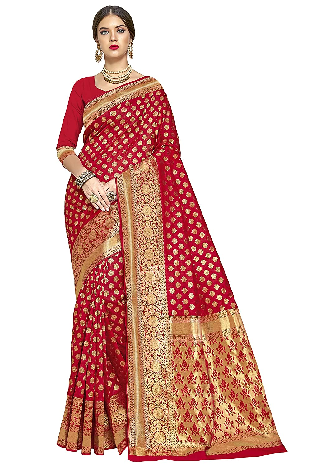 Glory Sarees Women's Kanchipuram Art Silk Saree With Blouse Piece (kara115red_Red)