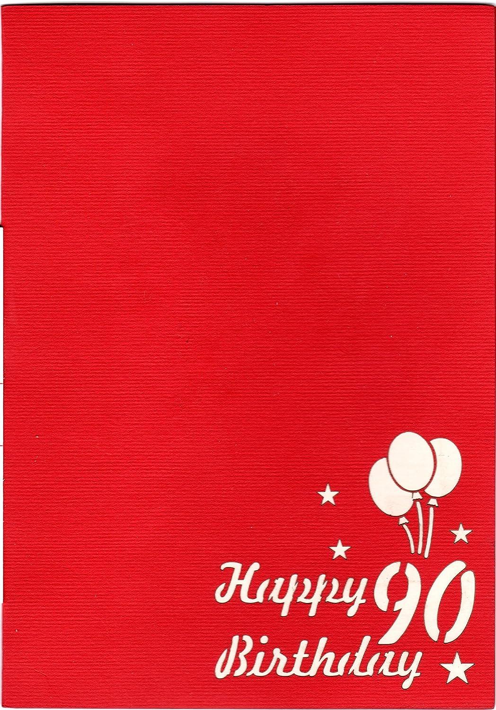 Unopera darte in filigrana che si dispiega allapertura della busta rossa progettata. Favour Pop Up biglietto per il 90/° compleanno