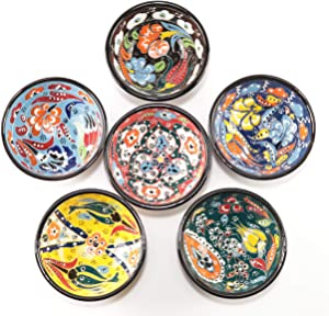 Canarels Decorative Bowl Set – Handcrafted Ceramic Prep Small Sauce Dipping Serving Pinch Bowls – Charcuterie Bowls - Coffee Table Decor, Multicolor Home Kitchen Decorations (3.14 inch, 6 Pcs - Carve)