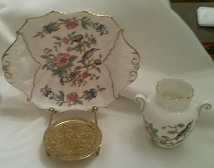 Amazon Aynsley Pembroke Tray And Miniature Vase Gold Trim