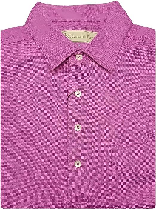 313a7b20 Donald Ross Mens Short Sleeve Classic Pique Golf Polo, SELF Collar, Left  Pocket -