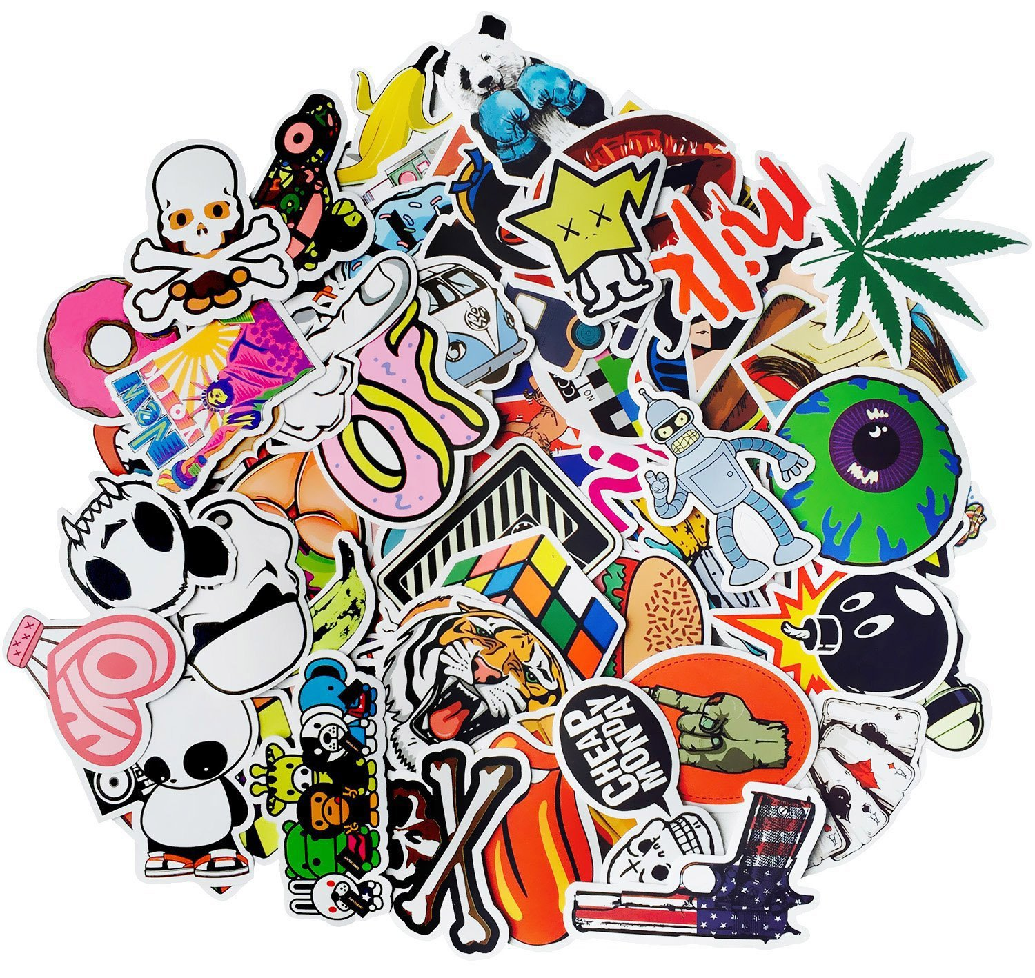 Aikuer 300pcs Laptop Stickers Waterproof Graffiti Vinyl Stickers, Cool Car Stickers Motorcycle Bicycle Luggage Decal Graffiti Patches Skateboard Stickers - Not Repeat Random Stickers Pack