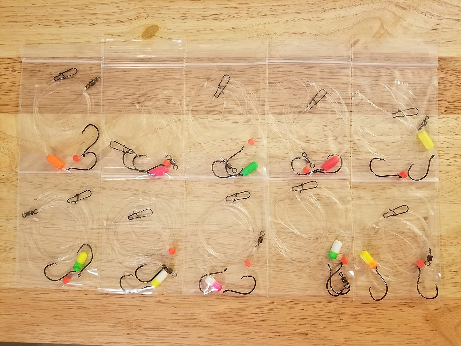 10 Mixed Color Floats Fishing Rigs for Pompano, Whitings, Corvina, Snappers, Etc