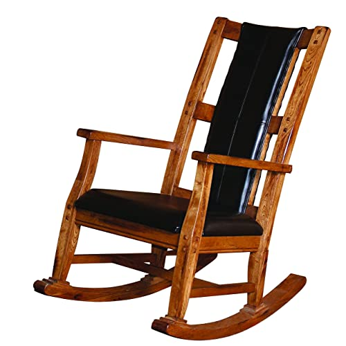 Sunny Designs 1935RO Sedona Rocker with Black Seat and Back, Rustic Oak  Finish - Antique Wood Rocking Chair: Amazon.com