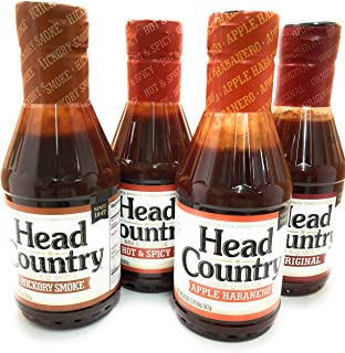 product image for Head Country Barbecue Sauce Apple Habanero, Original, Hickory Smoke, Hot & Spicy 20 oz (Variety Pack of 4)
