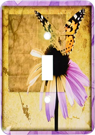 3drose Lsp 31490 1 Butterfly On Flower Grunge Toggle Switch Multicolor Switch Plates Amazon Com