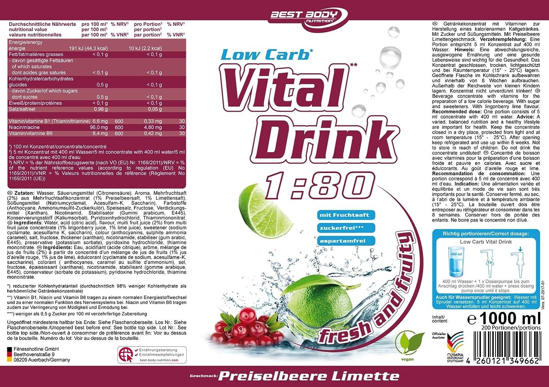 Best Body Nutrition Low Carb Vital Drink Lingonberry Lime - 1000 ml: Amazon.es: Salud y cuidado personal