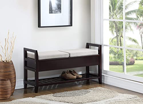 VIVOHOME 36 Inch Foot-of-Bed Bench, Upholstered Entryway Seat with X-Shaped Wood Legs for Living Room, Bedroom, Family Room, Hallway, 330lbs Capacity, Beige