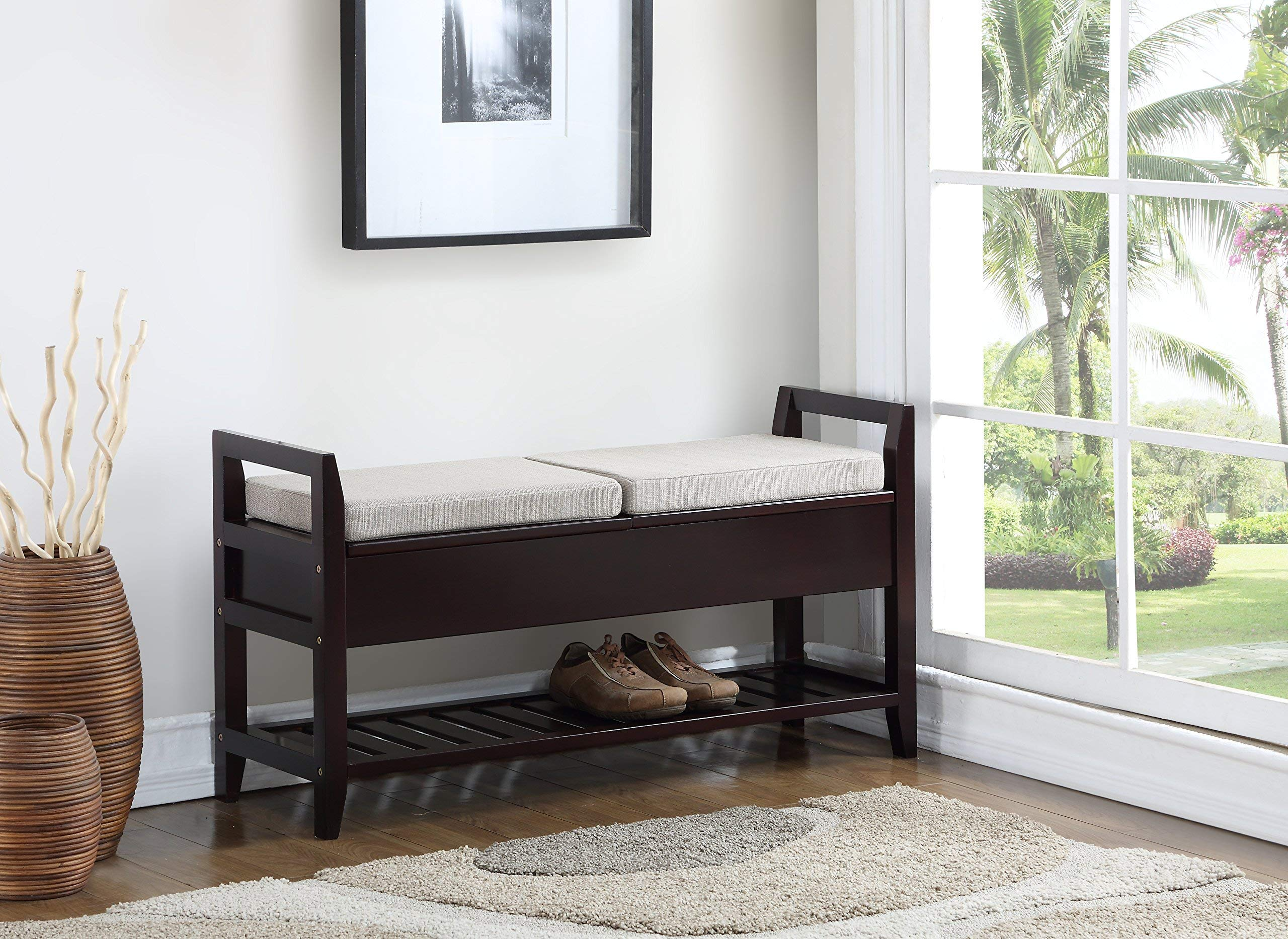 Roundhill Furniture 3432EP Vannes Espresso Storage Shoe Bench by Roundhill Furniture